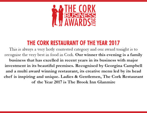 "Winner ""Cork Restaurant of the Year 2017"""